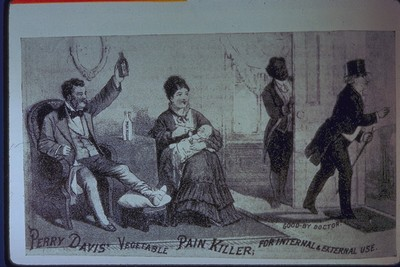 A painkiller ad shows 19th-cent. life