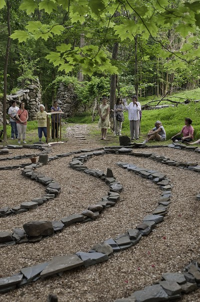 Blessing of the labyrinth.  Photo by Mel Kleiman.