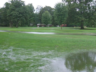 Canterbury creek flooded the golf course.  Photo by Graham Kelder.