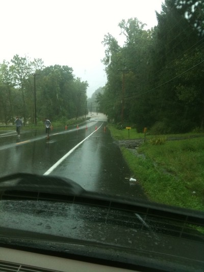 Route 32 in the distance is a raging river of water.  Photo by Catherine Versland.