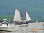 The Onrust yacht with a coast guard boat in front.  Photo by Cindy Anderson.