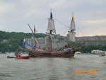 The Half Moon replica ship off West Point.