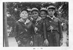 Cub Scouts L to R - Chip Hoffman, Donald Graham (background), George Kane, William Scism and Donald Wall. (Den Mothers: Mrs. Dwyer and Mrs. Dabrowski)