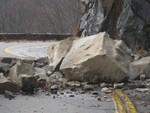 Rock Slide on Route 218.  Photo by Bob Anderson.