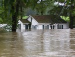 A house on Otterkill is surrounded by the Moodna water.