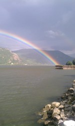 Photo by Karen Schaack. Rainbow at the river.