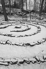 Photo by Mel Kleiman. Labyrinth in the snow.