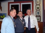 Photo by Jim Lennon. Left to right, U.S. Army Col. Hussy, U.S. Navy E5 Ortiz and Cornwall American Legion Post #353 Commander Pete Kurpeawski at Painters on Friday January 02.