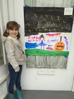 Sadie Steiner won 2nd place for 2nd graders in the Lions Club Halloween Painting Contest