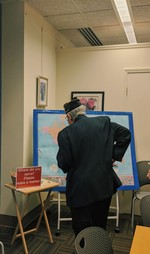 Photo by Casey Regenbaum. Map in the library where veterans would mark their locations of service.